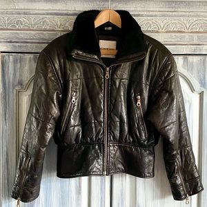 Andrew Marc Quilted Lambskin Moto Jacket
